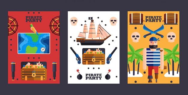 Invitation à une fête de style pirate symboles de la piraterie simples bannières plats