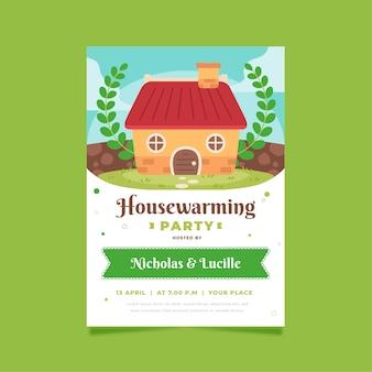 Invitation et feuilles de pendaison de crémaillère