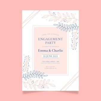 Invitation de fiançailles avec des ornements élégants