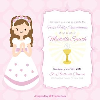 Invitation de fille de première communion