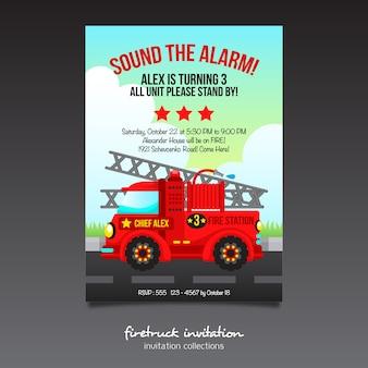 Invitation firetruck