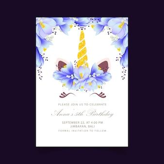 Invitation florale d'anniversaire d'enfants avec une licorne mignonne