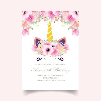 Invitation florale d'anniversaire pour enfants avec une licorne mignonne