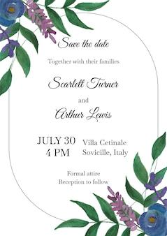 Invitation florale de mariage, conception de cartes d'invitation. plantes de verdure naturelle de style aquarelle, décoration de guirlande de feuilles de fougère forestière.
