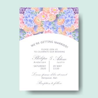 Invitation florale de mariage avec hortensia, renoncule, pivoine, feuilles d'eucalyptus, mil poussiéreux