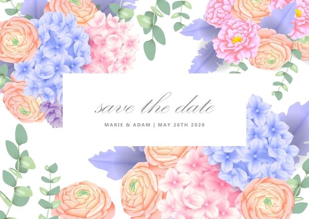 Invitation florale de mariage avec hortensia
