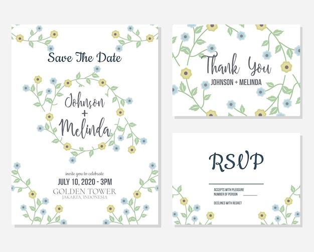 Invitation florale de mariage et rsvp