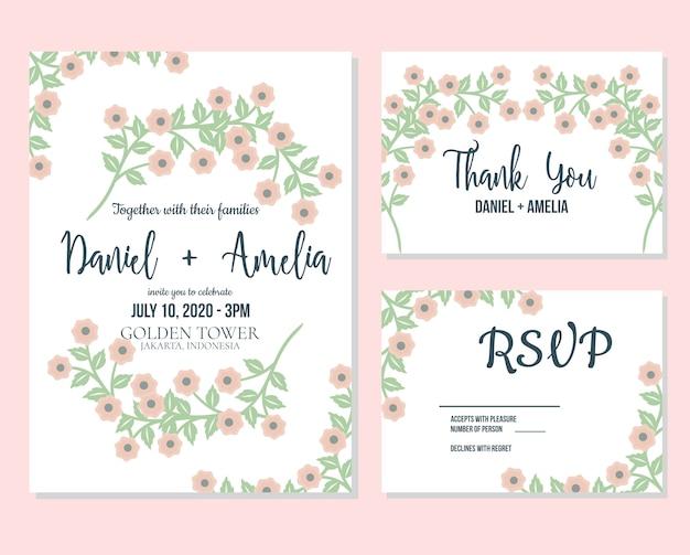 Invitation florale mignonne de mariage et rsvp