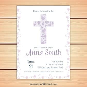 Invitation florale de première communion
