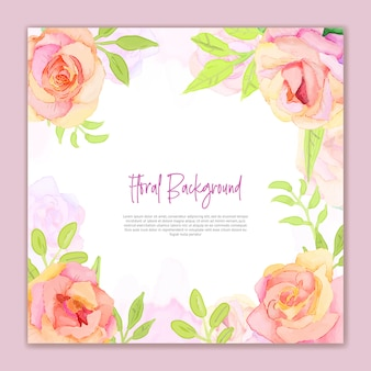 Invitation fond aquarelle avec des fleurs