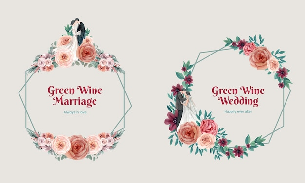 Invitation de guirlande de mariage avec des fleurs dans un style aquarelle