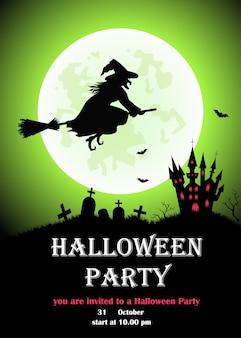 Invitation d'halloween heureuse avec sorcière, lune, château.