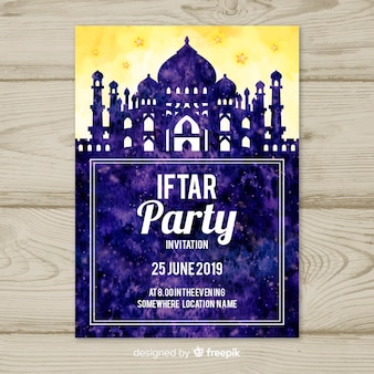 Invitation iftar aquarelle