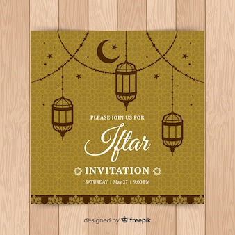 Invitation à l'iftar dessiné à la main