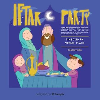 Invitation à l'iftar dessiné à la main