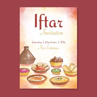 Invitation iftar avec image aquarelle