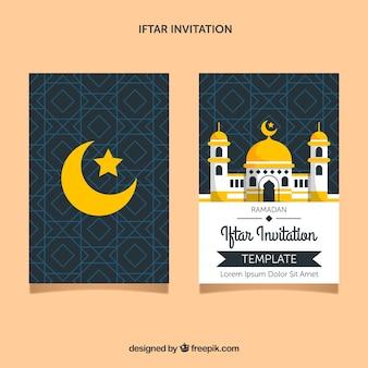Invitation d'iftar avec la mosquée dans le style plat