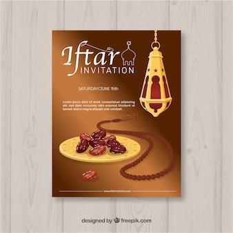 Invitation iftar avec de la nourriture et du thé dans un style plat