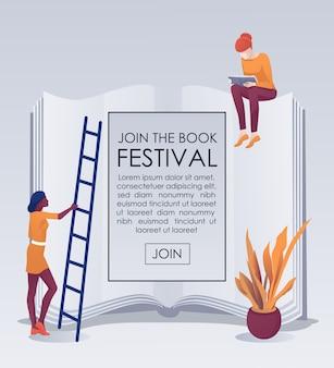Invitation joignez-vous à bookfest sur la bannière du livre géant