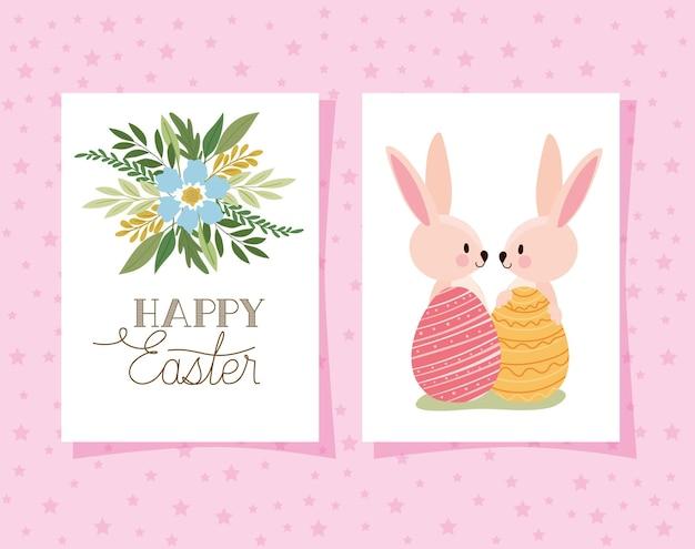 Invitation avec lettrage de joyeuses pâques et deux lapins roses avec des oeufs de pâques sur une conception d'illustration de fond rose