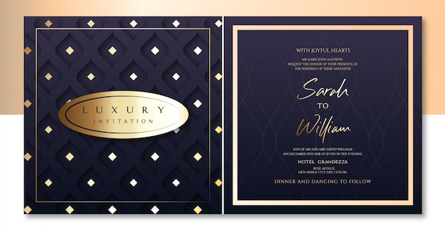 Invitation de luxe deep purple