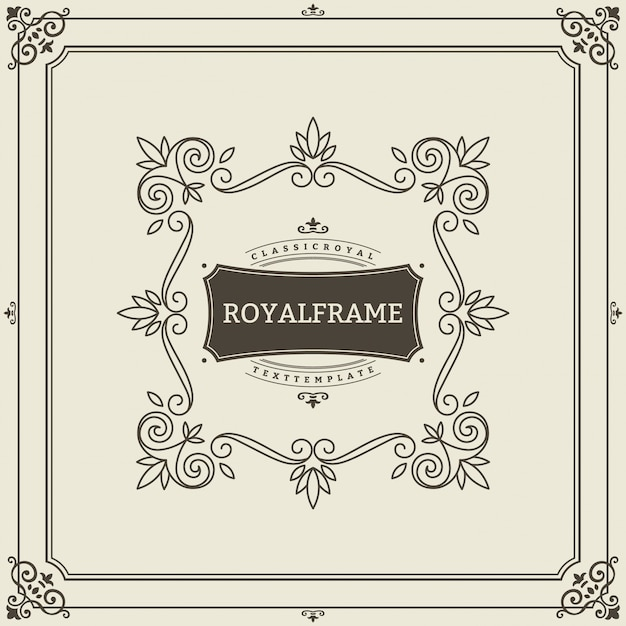 Invitation de luxe rétro, certificat royal. cadre s'épanouit. ornement vintage, cadre ornemental