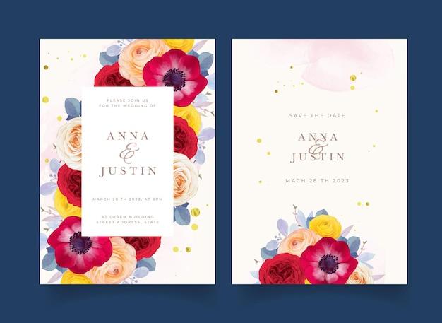 Invitation de mariage avec anémone rose rouge aquarelle et fleur de renoncule