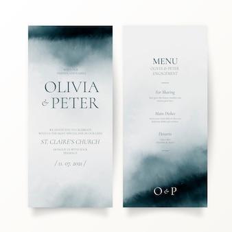 Invitation de mariage aquarelle abstraite et modèle de menu