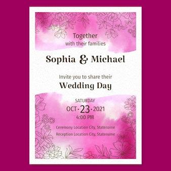 Invitation de mariage aquarelle dessinés à la main