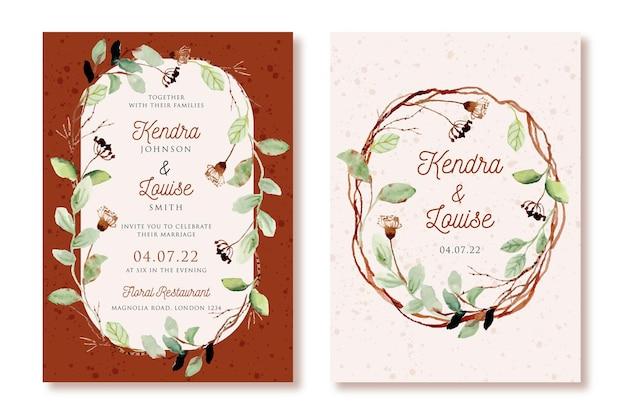 Invitation de mariage avec aquarelle de feuilles et de branches rustiques