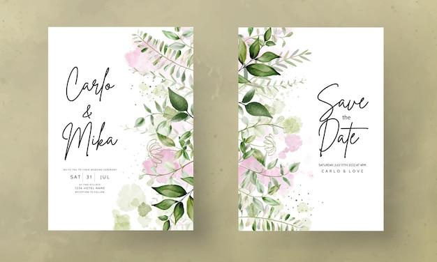 Invitation de mariage aquarelle feuilles élégantes avec fond aquarelle splash