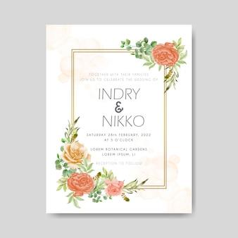 Invitation de mariage aquarelle avec des feuilles de verdure et de fleurs rouges orange et douces