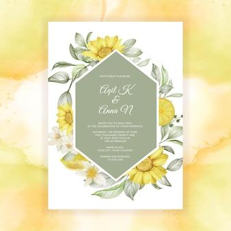 Invitation de mariage aquarelle fleur de citron de printemps