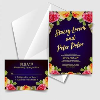 Invitation de mariage avec aquarelle fleurs fond bleu