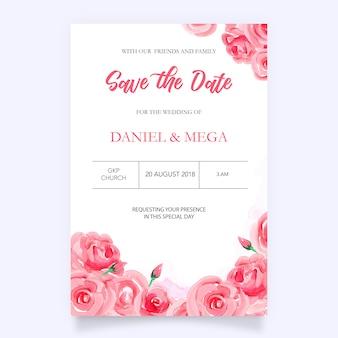 Invitation de mariage aquarelle avec des fleurs