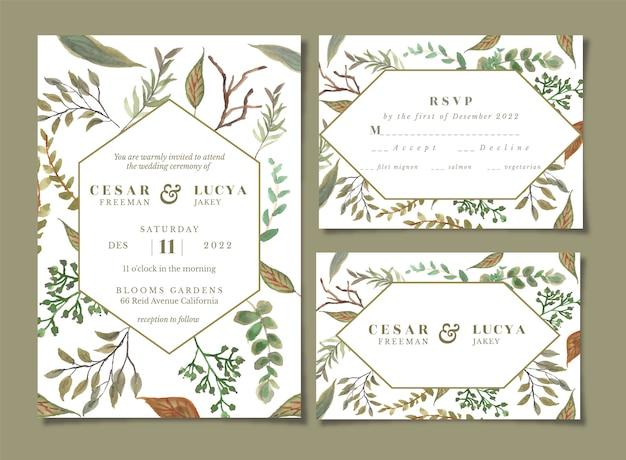 Invitation de mariage avec aquarelle florale de feuille