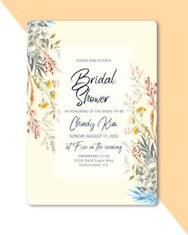 Invitation De Mariage Avec Aquarelle Florale Sauvage Vecteur Premium