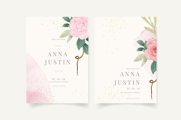 Invitation de mariage avec aquarelle florale
