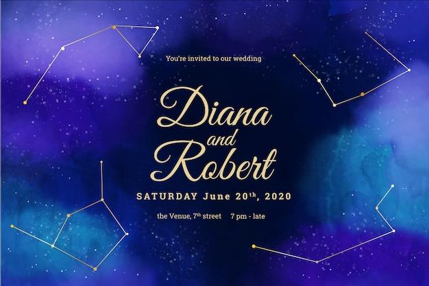 Invitation de mariage aquarelle galaxie