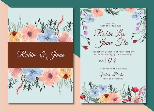 Invitation de mariage avec aquarelle jolie fleur