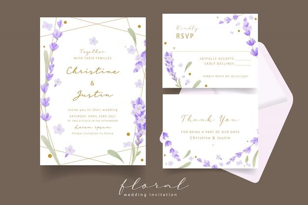 Invitation de mariage aquarelle lavande