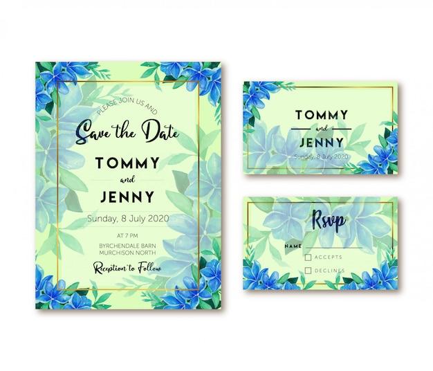 Invitation de mariage aquarelle orchidée bleu vintage