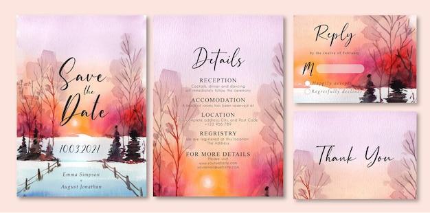 Invitation de mariage avec aquarelle paysage coucher de soleil hiver et neige