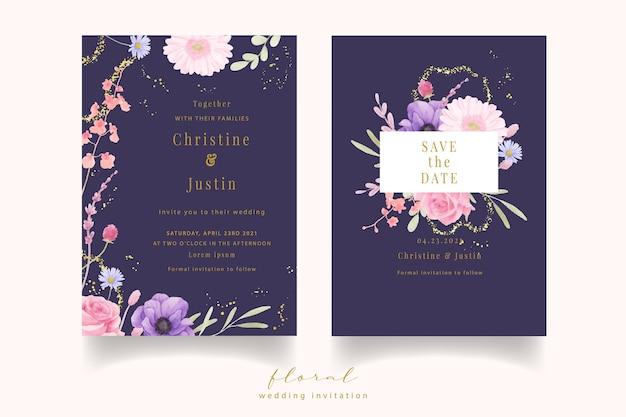 Invitation de mariage avec aquarelle rose, anémone et fleurs de gerbera
