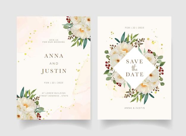 Invitation De Mariage Avec Aquarelle Rose Blanche Et Fleur De Pivoine Vecteur gratuit