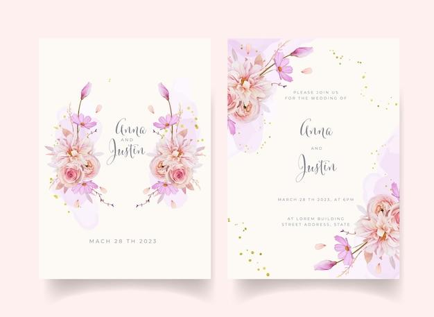 Invitation de mariage avec aquarelle rose dahlia et fleur de renoncule