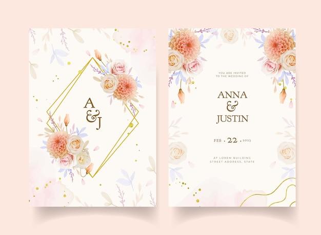Invitation de mariage avec aquarelle rose et fleur de dahlia