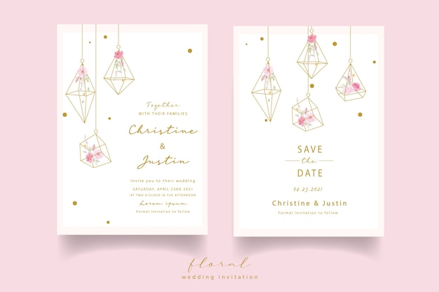 Invitation de mariage aquarelle rose rose