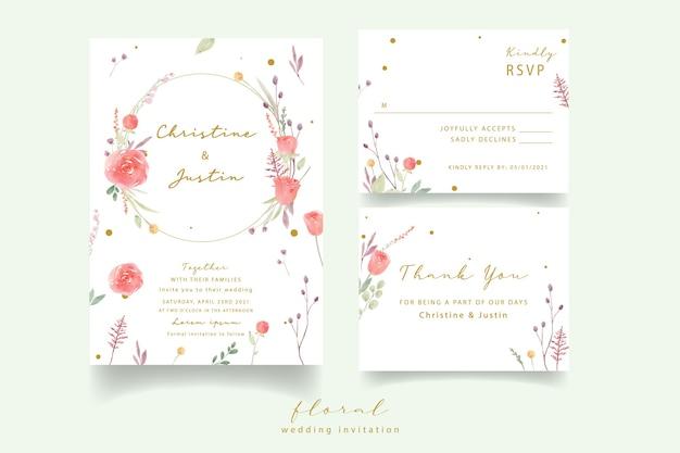 Invitation de mariage aquarelle rose rouge