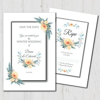 Invitation de mariage aquarelle et rsvp